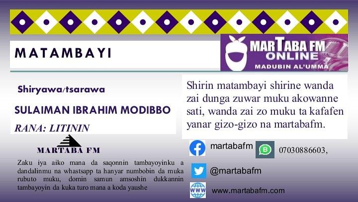 Ga Wani Albishir Daga Martaba FM Online.